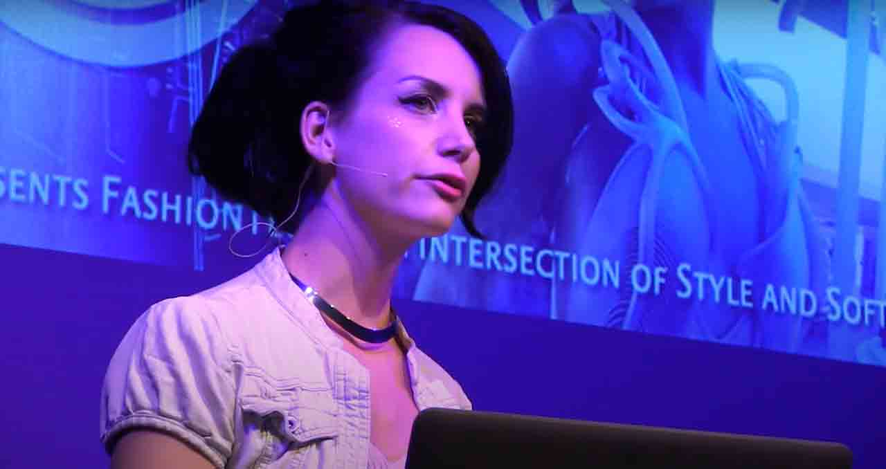 A photo of Anouk Wipprecht delivering her talk