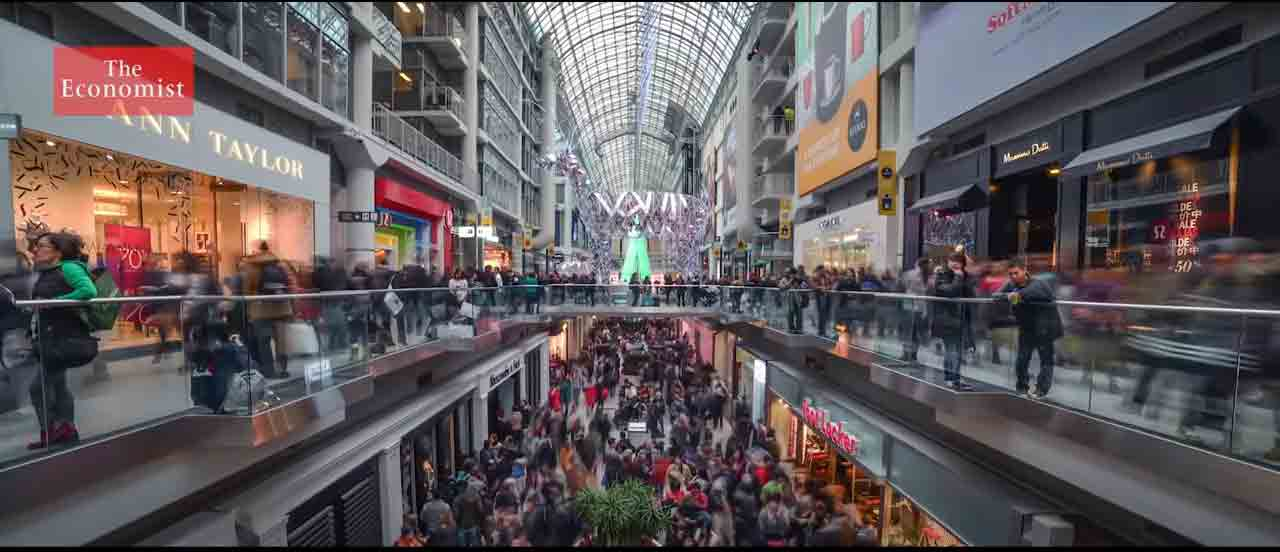 A photo of a busy mall