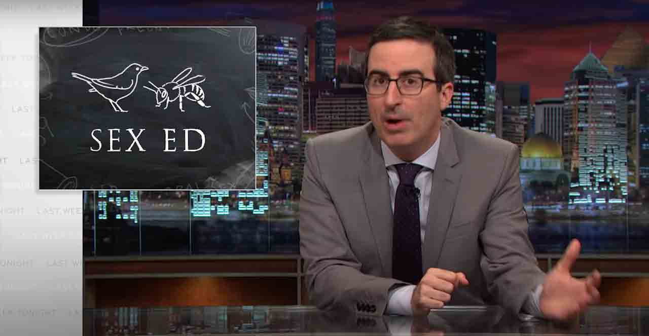 John Oliver discussing about sex education
