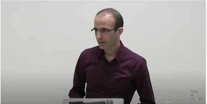 A screen cap of Yuval Harrari at Talks at Google
