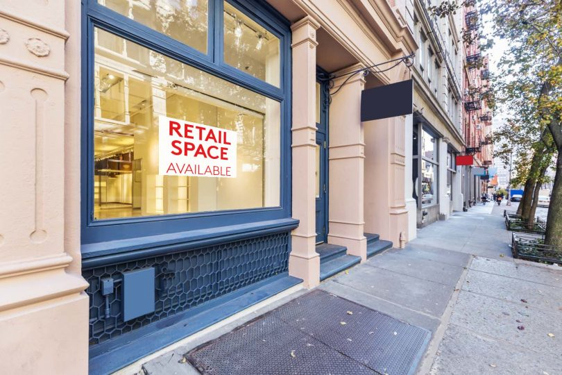 Vacant retail spaces